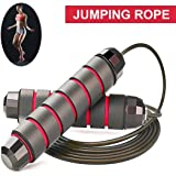 """OULVNUO Jump Rope Tangle-Free with Ball Bearings Rapid Speed Skipping Rope Cable, Adjustable Jumping Ropes with 6"""" Memory Foam Handles for Men, Women and Kids"""