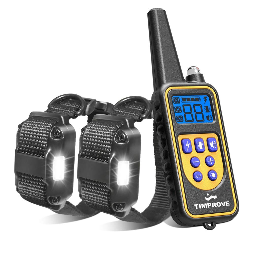 For 2 Dogs Oxygentle 330 Yards Range Remote Dual Dog Training Collar, Rechargeable and IPX7 Rainproof Dog Shock Collar with Beep, Vibration and Shock, Electric Dog Collar for Puppy, Small, Medium and Large Dogs, 2 Electronic Collar Receivers Included