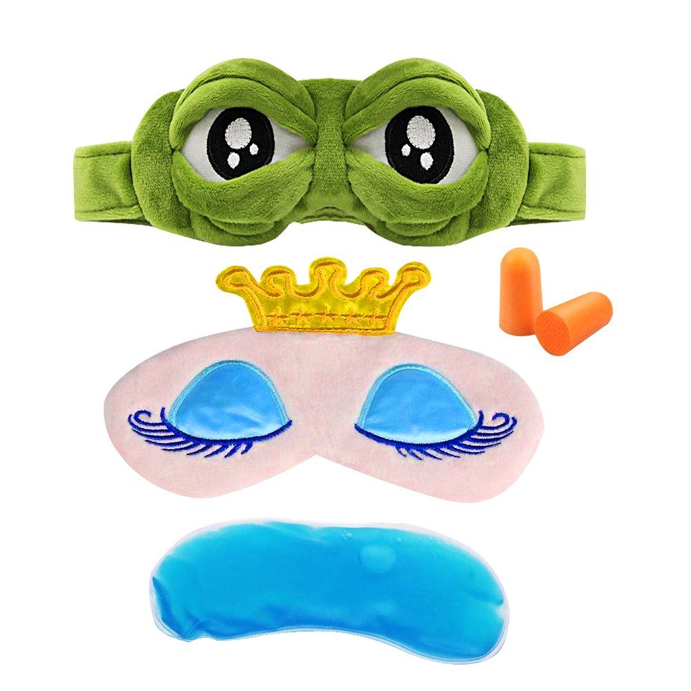 Eye Mask for Sleeping Sleep Mask for Puffy Eyes Dry Eeys Masks Set Anime Catoon Frog and Pink Crown Sleeping Aid Cover for Women Men Kids Eyeshade 3D Soft Cold Eye Protection Mask for Travel Rest Beau