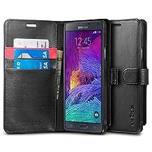 Spigen Wallet S Galaxy Note 4 Case with Kickstand Feature Card Holder Wallet Case for Samsung Galaxy Note 4 2014 - Black