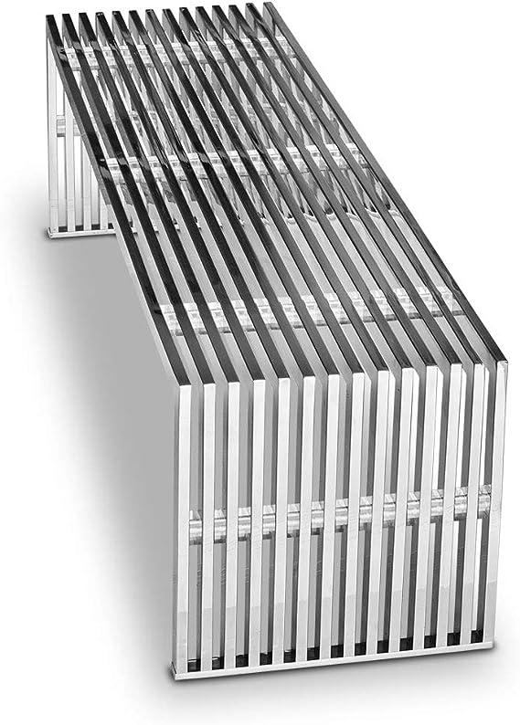 ACERO inox. Banco Bauhaus MUSEO Largo 140 x profundidad 40 cm Altura 42cm / 30 Kg. Con Acrílico distanzstücken. muy noble! Adecuado taburete, mesita baja y Aparador en Inoxidable Disponible: Amazon.es: Hogar