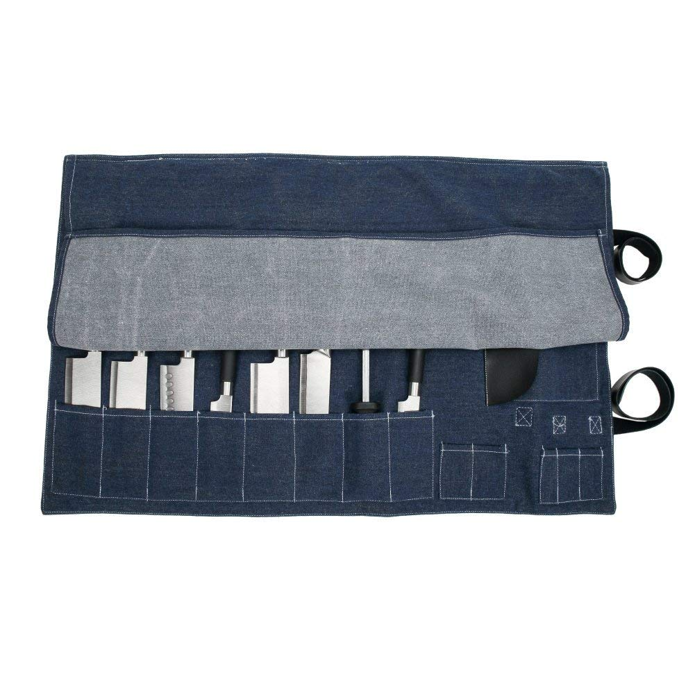 8 Pockets Chef's Knife Roll Bag Denim Chef's Gear Knife Cases Holders & Protectors Knife Storage Pouch Carrier With Shoulder Strap,Carry Handles And Card Holder(CYGJB43)