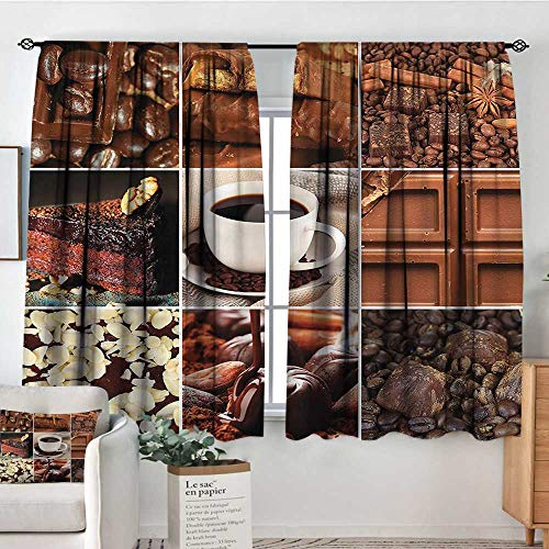 Brown,Kids Decor Curtain Coffee Chocolate Cocoa 52