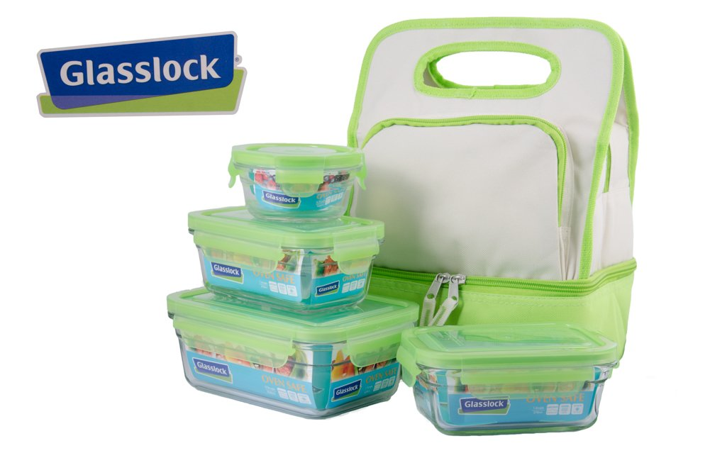 amazoncom glasslock lunch containers with insulated lunch bag 9 piece set kitchen u0026 dining