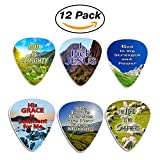 Christian Guitar Picks - Almighty God (12-Pack) - Bible Scripture Verse - Psalm 23 - Inspirational Gifts Church Supplies Praise and Worship Guitar Stocking Stuffers