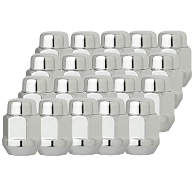 "NPAUTO Chrome 14 x 1.5 Lug Nut Compatible with 2005 2006 2007 2008 2009 2010 Chrysler 300, 08-10 Dodge Challenger Charger, 2015-2020 Ford Mustang Edge, Closed End Bulge Acorn13/16"" Hex, Pack of 20: Automotive"