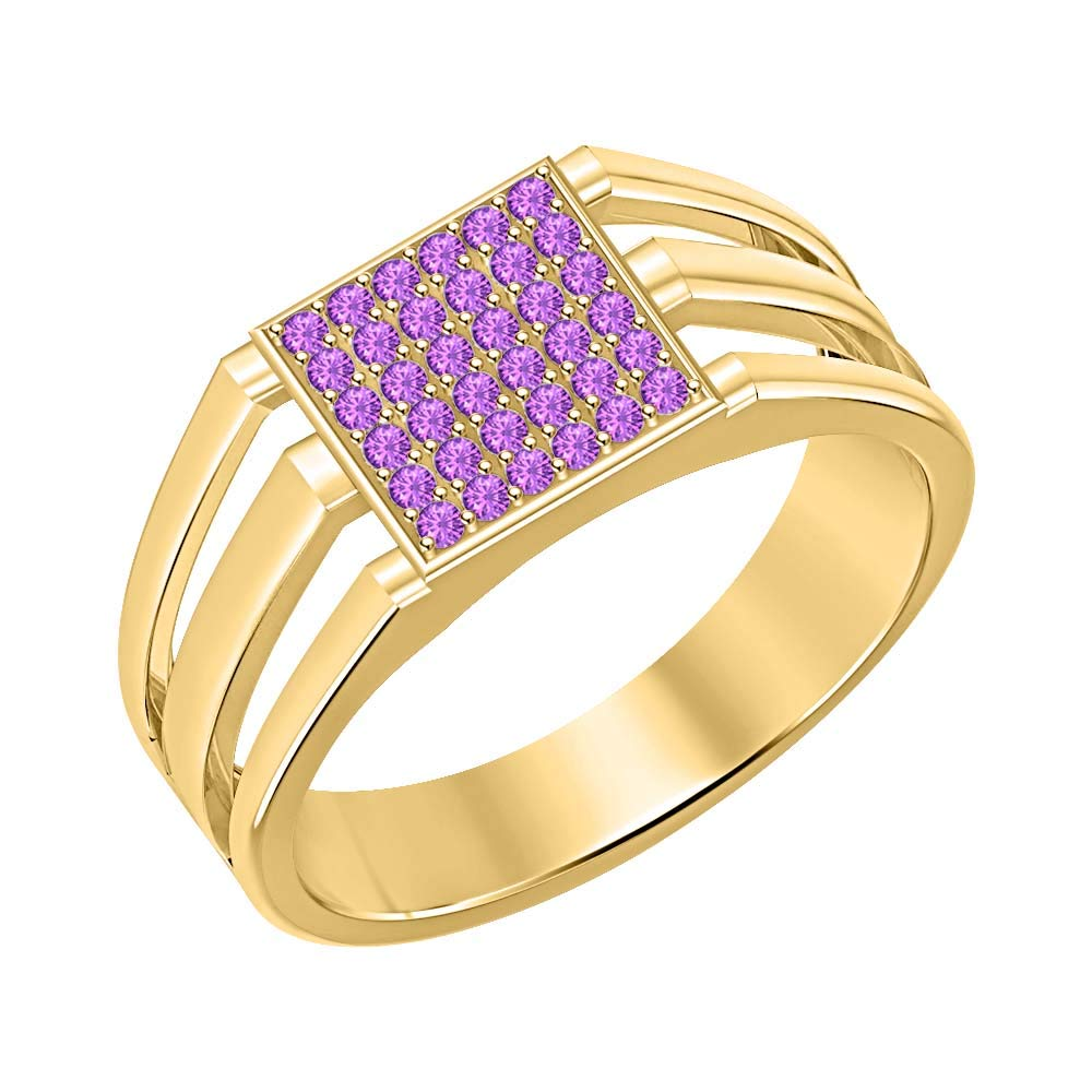 SVC-JEWELS 14k Yellow Gold Plated 925 Sterling Silver Purple Amethyst Cluster Engagement Wedding Band Ring Mens