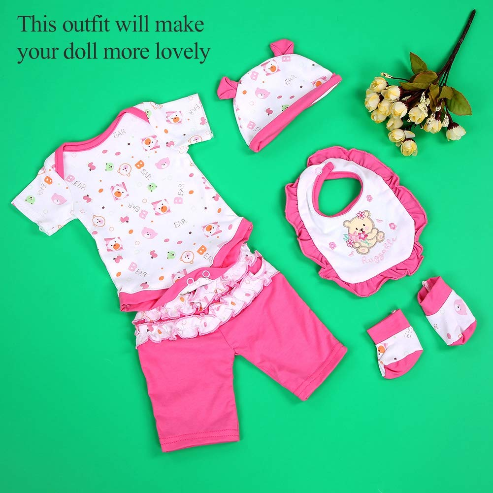 Lovely Baby Simulation Doll Lovely Clothes Costumes for 17 Inch Doll Cloth Sock Hat Bib Girl Birthday Gift