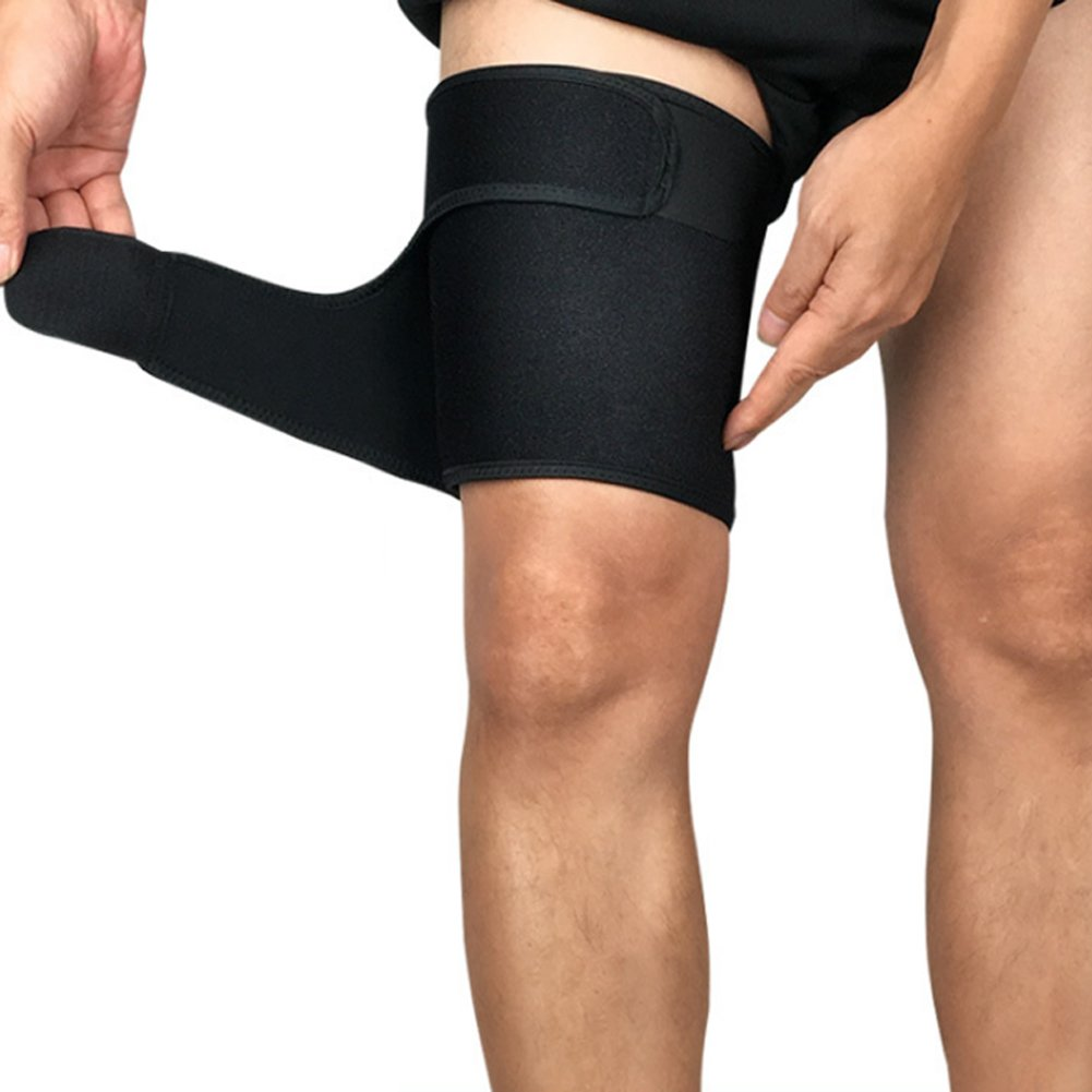 Sports Thigh Brace Support Adjustable Black Compression Thigh Sleeve Wrap for Men Women Pain Relief