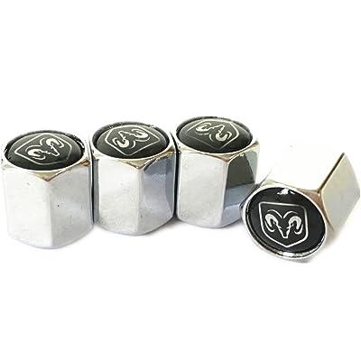 Dodge Ram Black Logo Chrome Tire Stem Valve Caps: Automotive