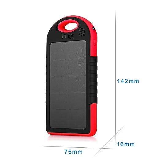 Cargador Solar de 5000mAh [Nueva versión con 2 Mini Paneles Solares] YOKKAO Batería Solar Externa portátil 2 USB con LED (Negro y Rojo): Amazon.es: ...