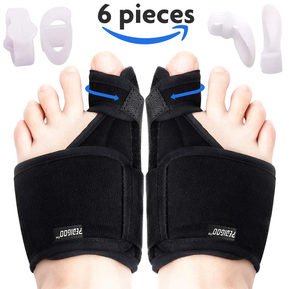 Bunion Corrector Bunion Relief Kit (Bunion Splints, Gel Toe Protect Separator Sleeves, Toe Separators) for Hallux Valgus - Day/Night Time Support for Women and Men (Foot Length 9-11 Inch, Size 5-10) by PediGoo