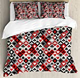 Lunarable Casino Duvet Cover Set King Size, Checkered Rhombus Pattern with Playing Card Icons Grunge Display Gaming Club Theme, Decorative 3 Piece Bedding Set with 2 Pillow Shams, Multicolor
