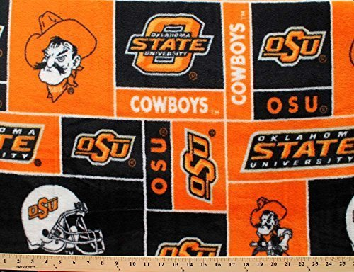 College Oklahoma State University Cowboys Print Fleece Fabric By the Yard by College Fleece Fabric