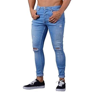 bebcac6fc5444 OHQ Jeans Holes Pants Bleu Noir Pantalon en Denim Extensible Skinny pour  Homme DéChiré Usé Taille