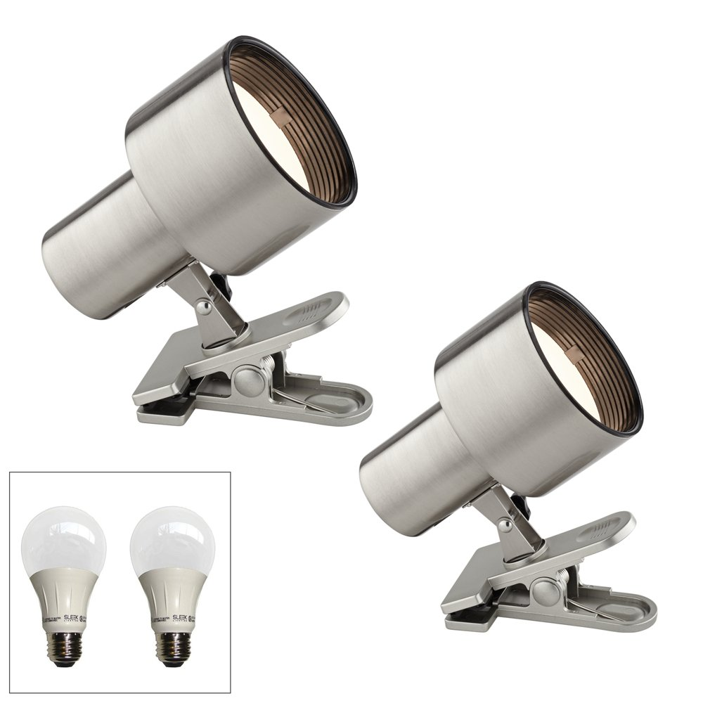 Satin Nickel 6'' High LED Mini Accent Clip Light Set of 2