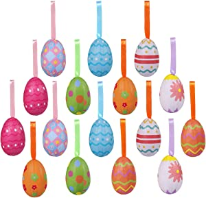 16PCS Easter Decorations Eggs Hanging Ornaments Colorful Paper Mache Eggs for Crafts Handmade Foam Egg for Easter Decor Party Favors Supplies Home Decor