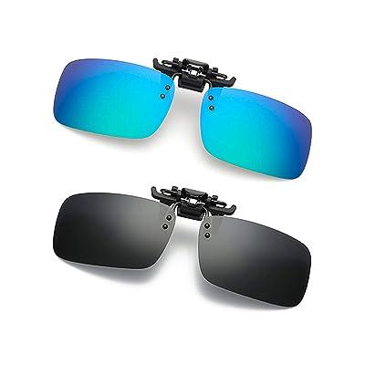 Unisex Polarized Clip on Sunglasses Flip-Up UV400 Lens for Night Vision Glasses