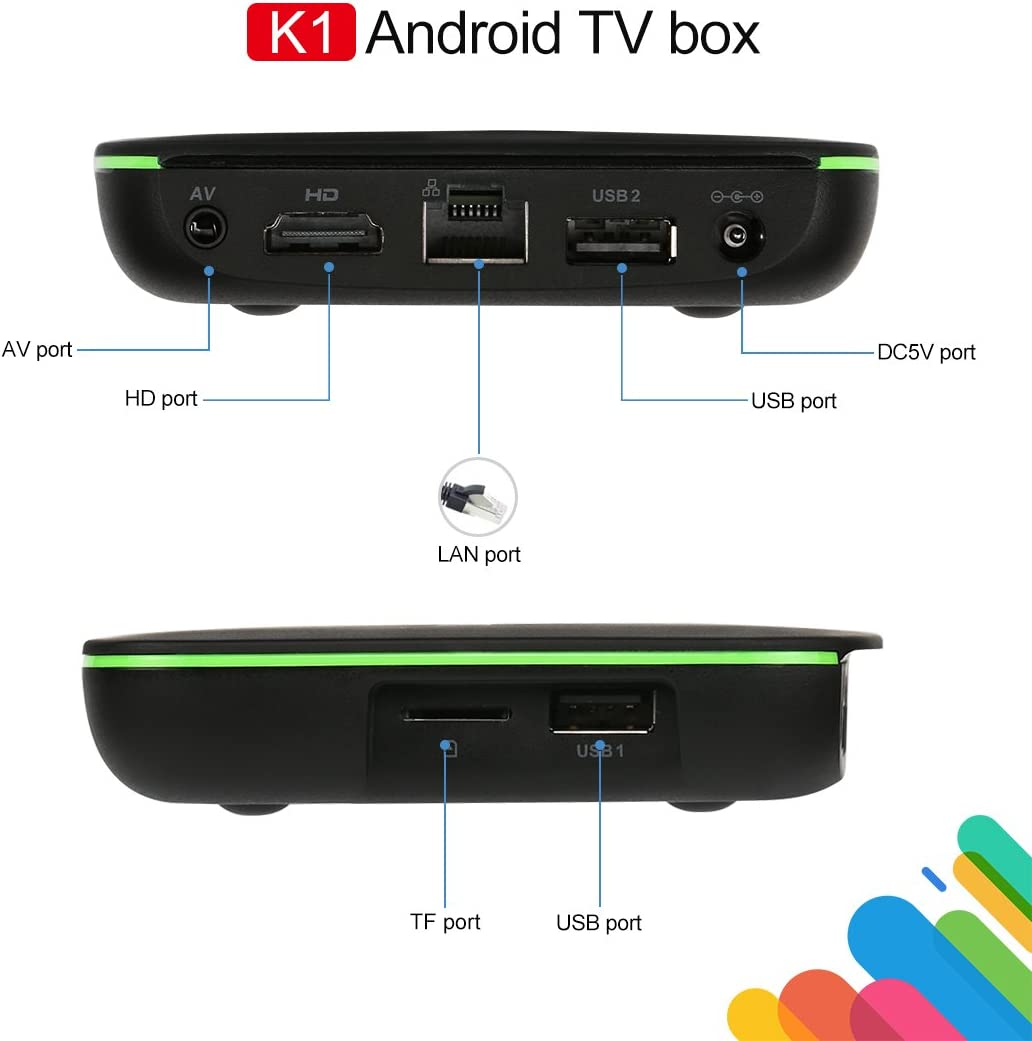 Kingbox Android TV Box, K1 Android 7.1 Box Compatible con 4K (60Hz) Full HDMI / H.265 / Bluetooth 4.0 / WiFi 2.4GHz Android Smart TV Box [2018: Amazon.es: Electrónica