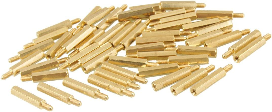 Aexit 50 Pcs Tube Fittings M3 Male x M3 Female Screw PCB Stand-Off Spacer Hex Microbore Tubing Connectors 26mm Length