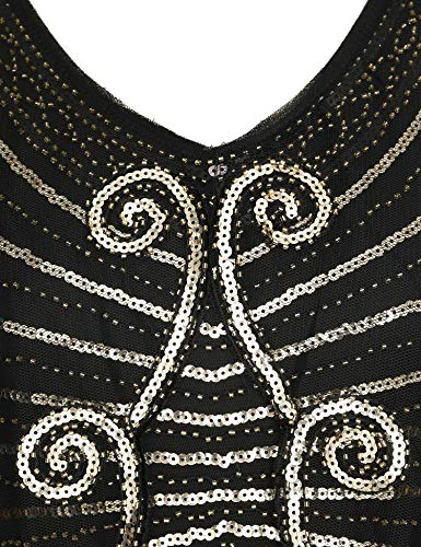 Black Beaded Roaring Gatsby with Deco 20s Sequined Cape Deco Dress Art Shawl Flapper 1920s Dress Dress wHqZf44