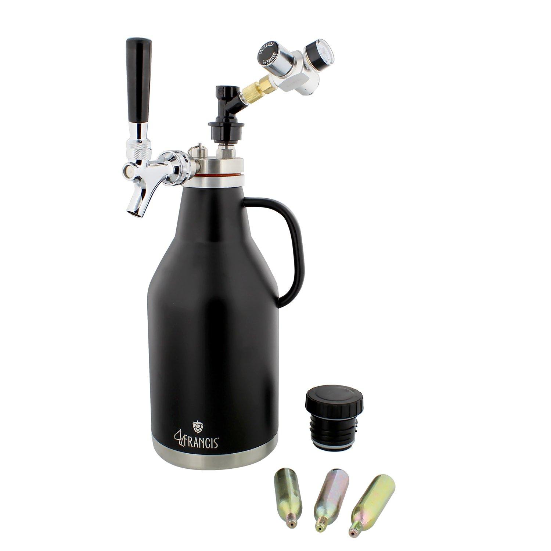 Pressurized Beer Growler 64oz Stainless Steel with Logo - Pressurized Growler Beer Dispenser CO2 Growler, Regulator, Tap