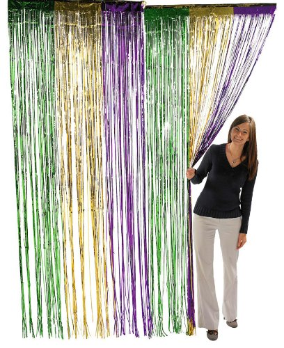 [Fun Express Metallic Mardi Gras Fringe Curtains (1 Piece)] (Mardi Gras Decorations)