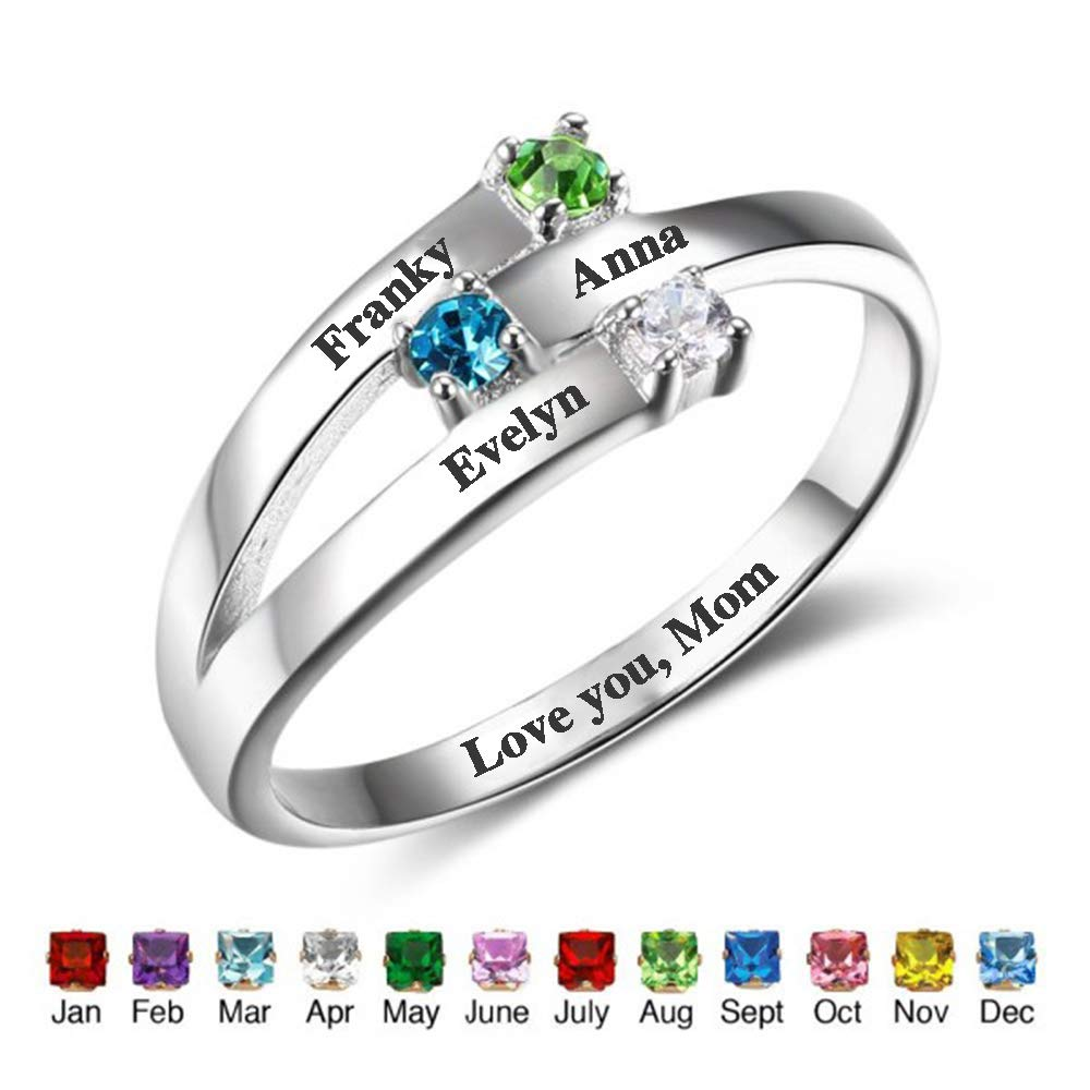 Yoke Style Personalized Mothers Ring with 3 Birthstones Custom Engraved Family Rings with Names for Anniversary