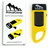 PrimalCamp Solar Powered Hand Crank Flashlight: Survival Gear Rechargeable LED Self Powered Flashlight Torch & Dynamo - Best for Fishing Boating Hiking Backpack Camping Safety Weather Emergency Pack