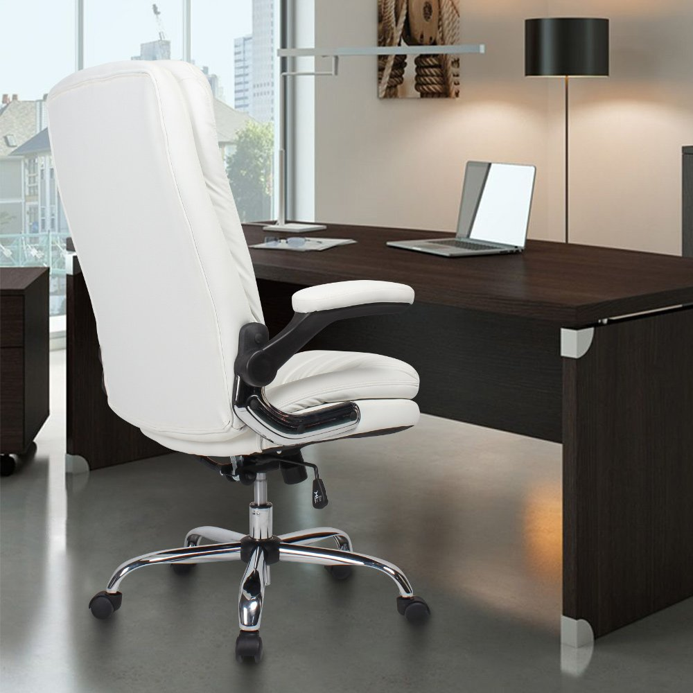 YAMASORO Ergonomic Office Chair with Flip-Up Arms and Comfy Headrest PU Leather High-Back Computer Desk Chair Big and Tall Capacity 330lbs White by YAMASORO (Image #3)