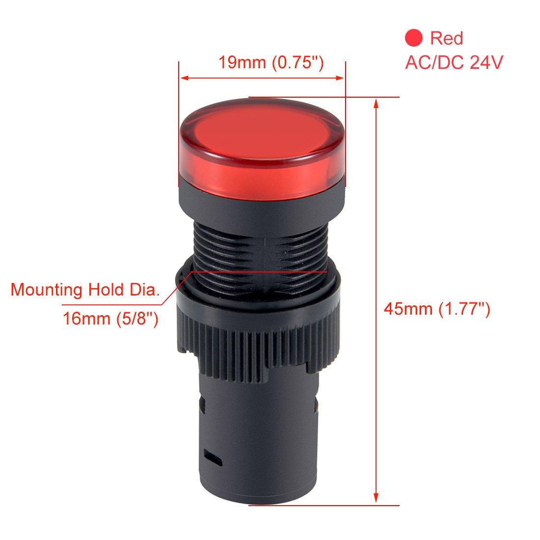 sourcing map Spie AC//DC 12V Luce pilota LED rosso a filo per montaggio a pannello 5//8 16mm 3pz.