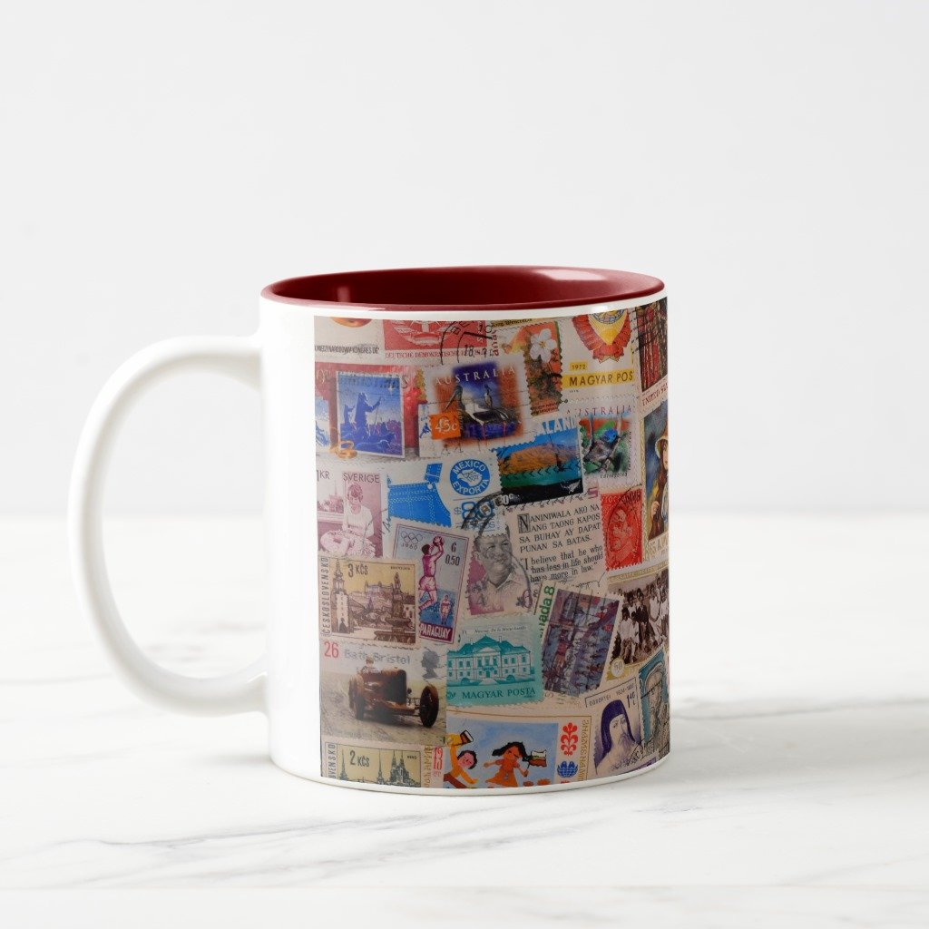 Amazon.com: Zazzle World Of Stamps - Coffee Mug, Maroon Two-Tone Mug 11 oz: Kitchen & Dining