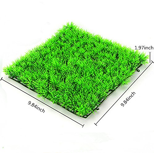 OWIKAR Aquarium Decor Plants Green High Imitation Aquatic Turfing Thicken Grass Sod With Suction Cups Fish Tank Bottom Decorations Artificial Plastic Water Plants 9.84x9.84inch