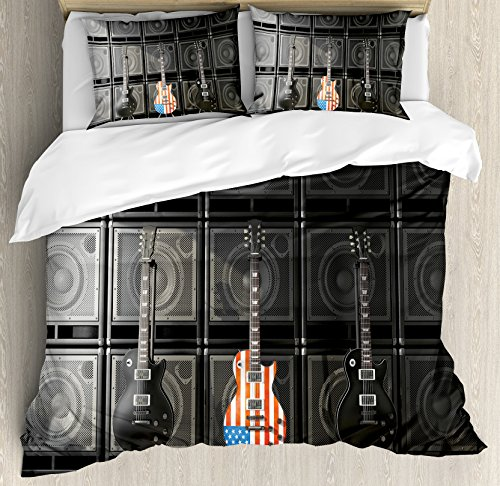 Ambesonne American Flag Duvet Cover Set Queen Size, Black and Us Bass Guitar Electronic Rock Music Theme Digital Graphic Work, Decorative 3 Piece Bedding Set with 2 Pillow Shams, ()