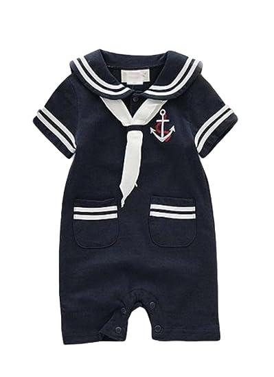 0d6dc20915 Amazon.com  AvaCostume Baby Boys Navy Uniform One-Piece Romper  Clothing