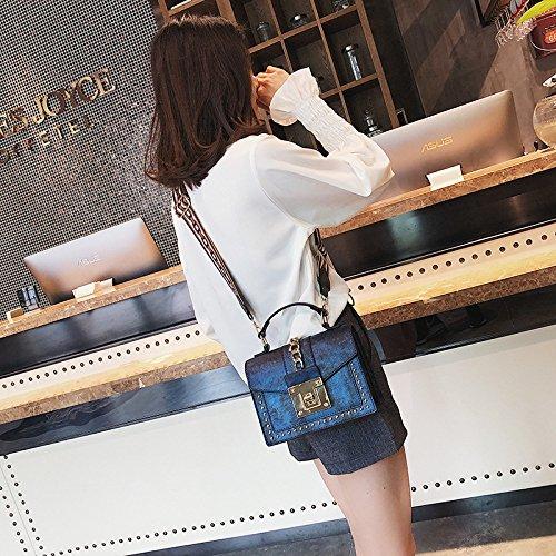 las de de de la seguridad Remaches bolsos de pequeños bloqueo de Blue hombro cuadrados mujeres cinta bolsos Bolsos bolsos retros S5IwdwxnqY