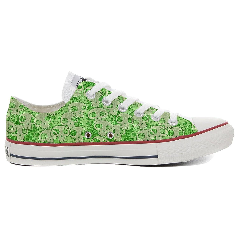 Converse All Star Slim personalisierte Schuhe (Handwerk Produkt) Green Skull  38 EU