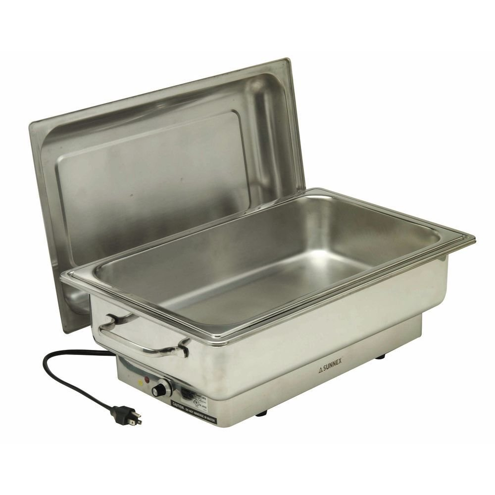 Electric Chafer Full Size 14 1/3 Qt Stainless Steel - 22''L x 13''W x 12''H