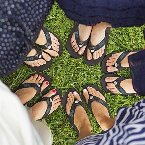 Cathys Concepten Team Bruid Flip Flops, Medium, Wit Zwart