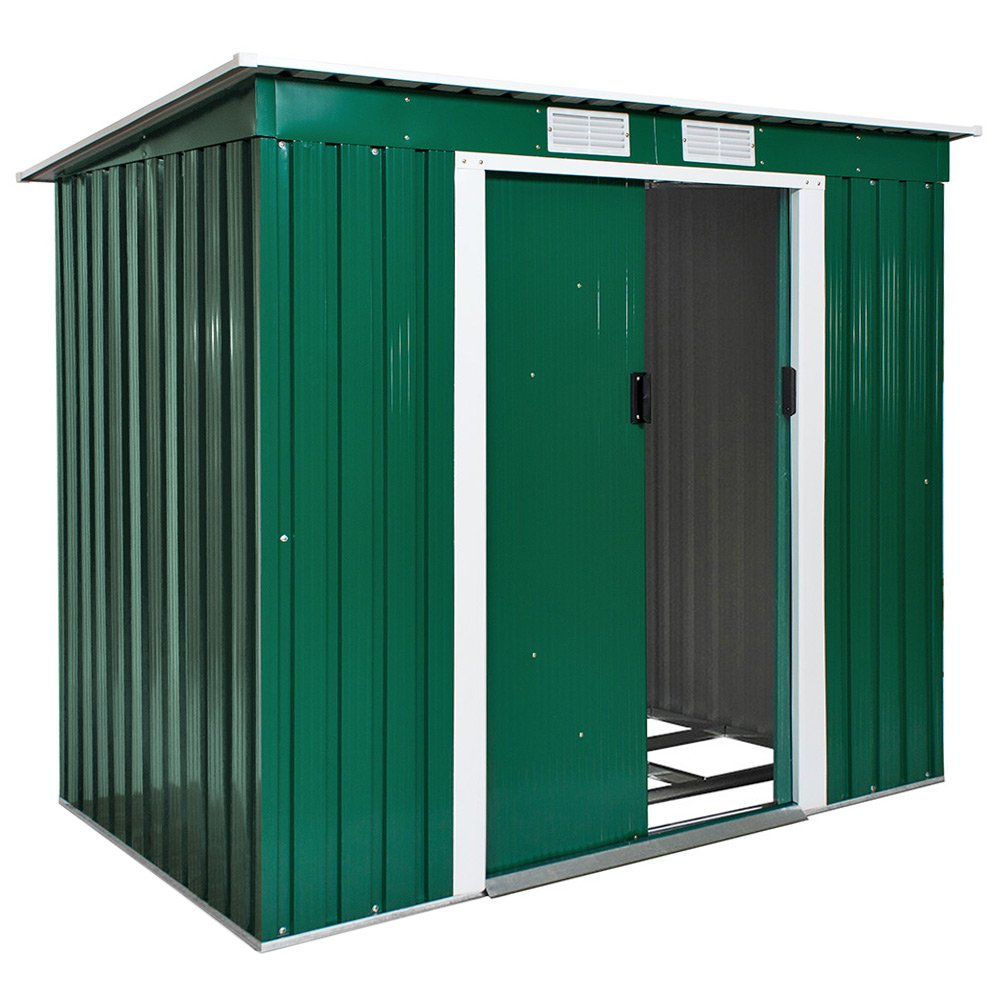 TecTake Garden Pent Metal Shed Greenhouse Tool Storage With Double Doors 213x130x173 cm 6ftx4ft with Foundation