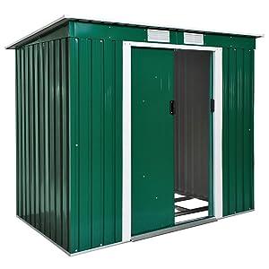 TecTake Cobertizo caseta de jardín metálica de Metal Invernadero almacén | + fundación Modelos (Tipo 2 | Verde | no. 402183)
