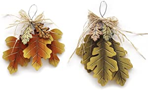 YK Decor Autumn Fall 3 Wood Oak Tree Leaf Cluster Hanging Front Door Decoration Wall Decor Sign Decorative Ornaments