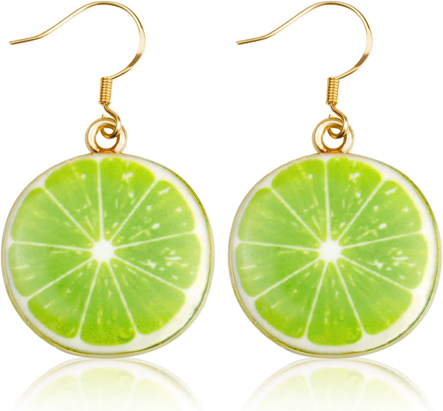 JIGAL Lemon Earrings Kiwi Strawberry Watermelon Grapefruit Cute Fruit Theme Dangle Earrings Jewelry for Women Girls