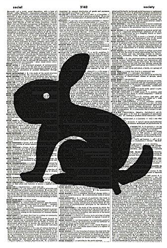 Bunny Art Print - Rabbit Art Print - Bunny Silhouette - Easter Art Print - Vintage Art Print - Rabbit Illustration - Animal Picture - Vintage Dictionary Art Print - (Easter Bunny Silhouette)