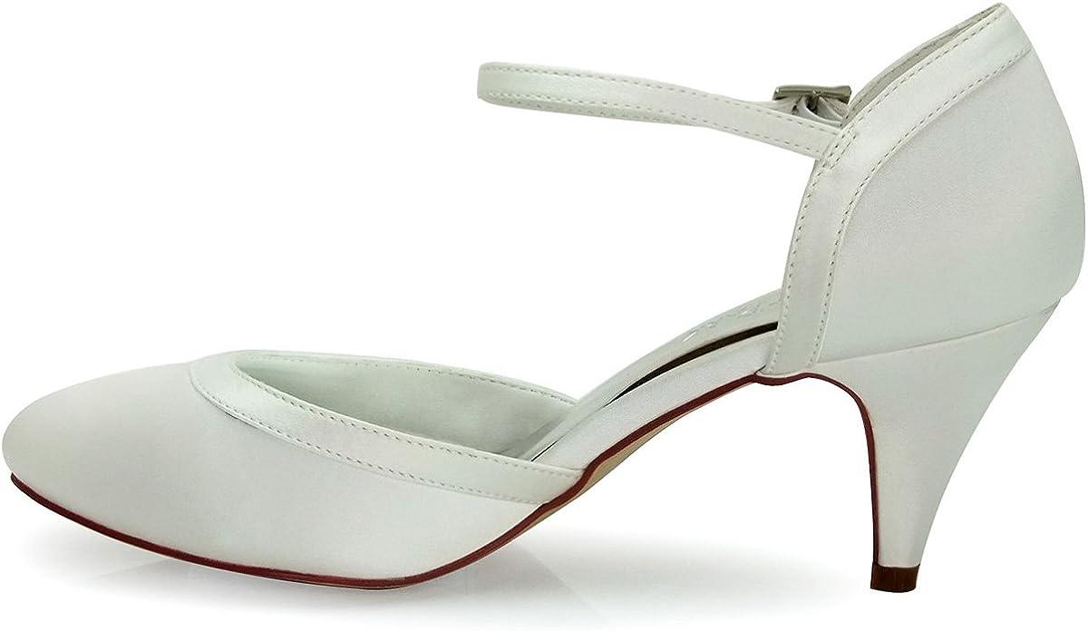 Elegantpark HC1509 Scarpe da Sposa con Tacco Scarpe Chiuse Donna
