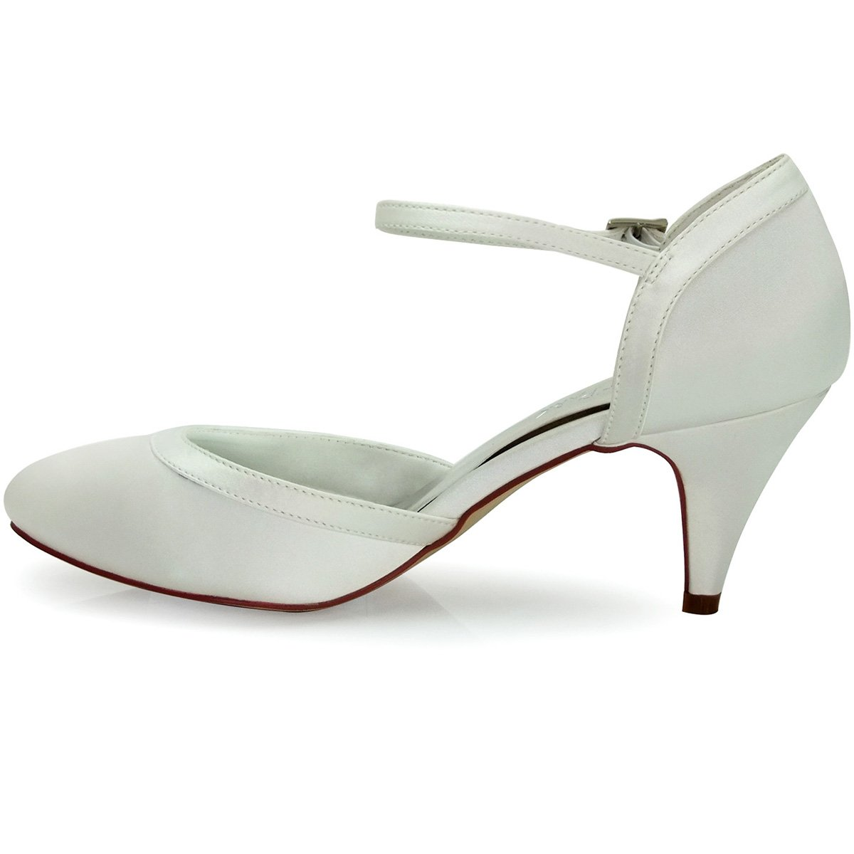 ElegantPark HC1509 Escarpins Femme Bride cheville Boucle Bout rond Mary Janes Satin Chaussures Pompes a Talon de Mariee Mariage