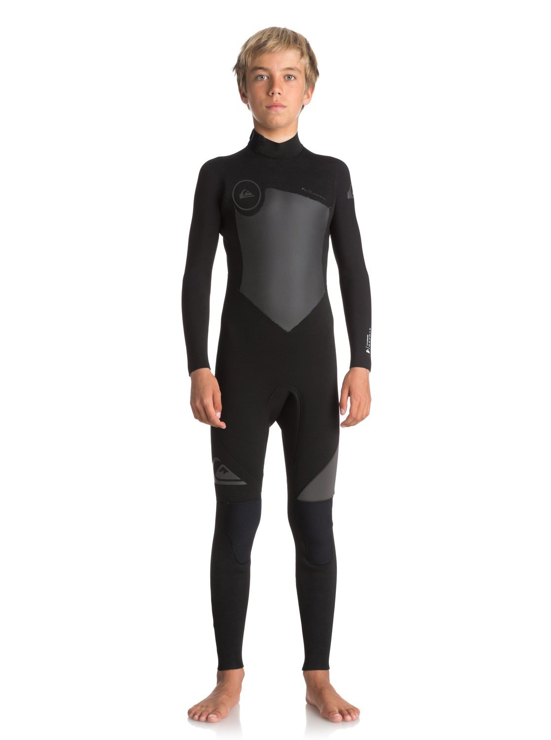 Quiksilver Boys 4/3Mm Syncro Series Back Zip Gbs - Full Wetsuit Back Zip Gbs Wetsuit Black 8 by Quiksilver