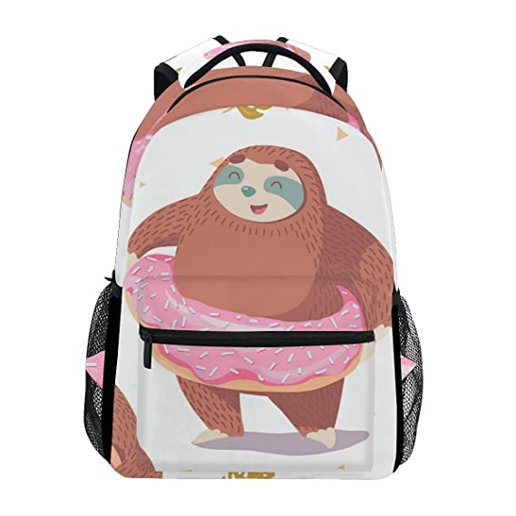 Review School Student Backpack Swimming Laps Sloth Teens Girls Boys Bookbags Travel Schoolbag