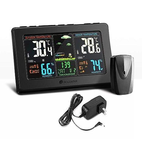 AFGD Termómetro Digitahigrómetro Termómetro Digital Pantalla A Color USB Sensor Inalámbrico para Exteriores