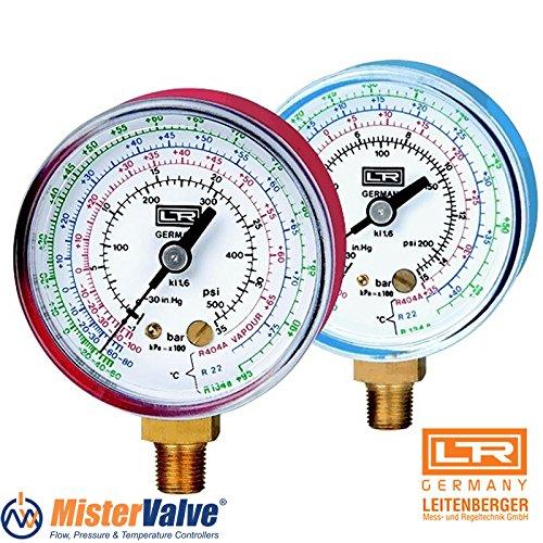 """Leitenberger HVAC Pressure Gauge - Manometer - type MB-MR Low Side (Blue) gauge R134a/R404a/R22 63 Refrigeration Parts ¼"""" SAE – Back from Leitenberger"""